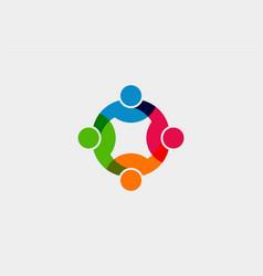 teamwork social network logo graphic vector image