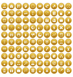 100 seminar icons set gold vector
