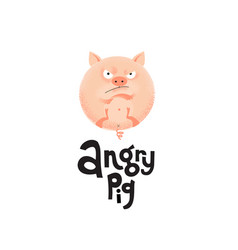 a round angry flesh color pig is lying on its back vector image