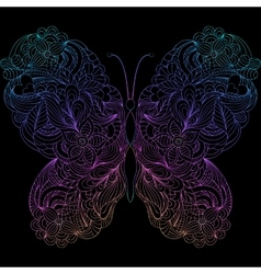 Abstract butterfly on black background vector