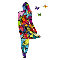 abstract woman with colored butterflies vector image