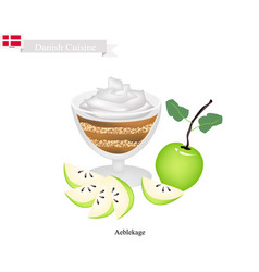 aeblekage or apple cake popular dessert in denmar vector image