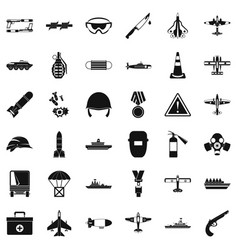 Army depot icons set simple style vector
