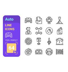 auto line icons set vector image