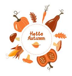 Autumn greeting card harvest vegetables vector