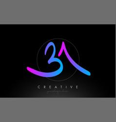 Ba artistic brush letter logo handwritten in vector