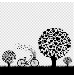 black wood with hearts with bicycle transparent vector image