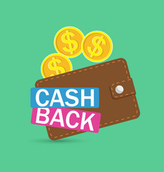 brown wallet icon cash back finance mobile app vector image vector image