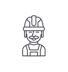 builder line icon concept builder linear vector image