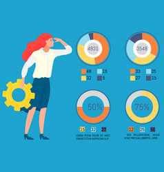 businesslady holding cogwheel looking at data vector image