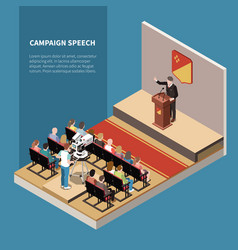 Campaign speech isometric background vector