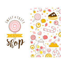 Candy shop card template with tasty sweets vector