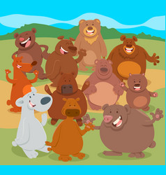 cartoon bears animal characters group vector image