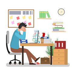 cartoon man overwork in office card poster vector image