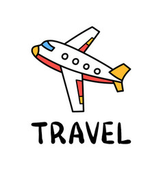 Cartoon travel plane doodle lettering for vector