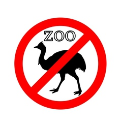 Cassowary in zoo prohibited vector