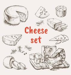 cheese set hand drawing vector image