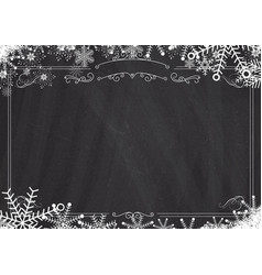 Christmas winter snowflake retro border and vector