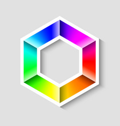 colorful radial gradient hexagonal symbol made of vector image