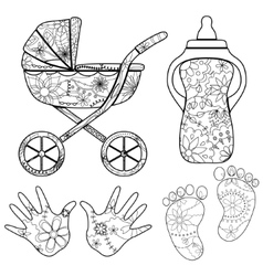Coloring set baby vector
