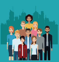 Community people team together city background vector