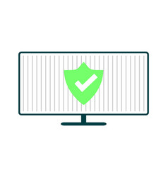 Computer with green shield vector
