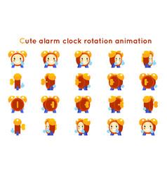 Cute alarm clock child ticker kid character icons vector