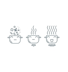 Cute pot line icons vector