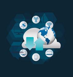 digital communication technology vector image