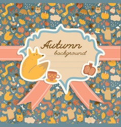 Doodle autumn copybook background vector