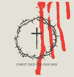 Easter banner christ died for our sins vector