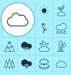 ecology icons set with rose mountains sun and vector image