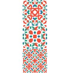Ethnic decorative ornaments in color ceramic tile vector