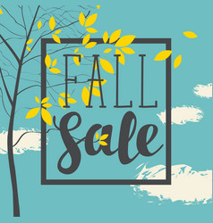 fall sale banner with inscription and branches vector image