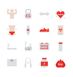 fitness related in flat icon set vector image