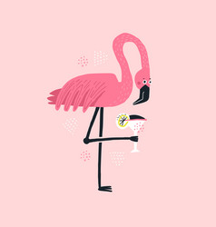 Flamingo with cocktail hand drawn vector