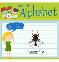 Flashcard letter H is for house fly vector