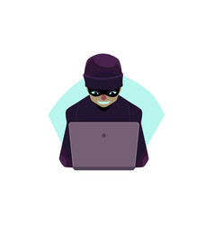 flat hacker with laptop isolated vector image