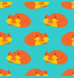 fox sleeps seamless pattern sleeping wild beast vector image
