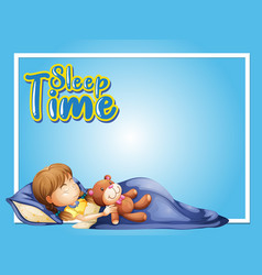 frame design template with little girl sleeping vector image