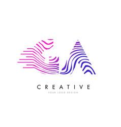 Ga g a zebra lines letter logo design vector