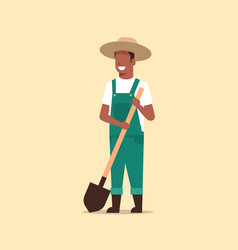 Gardener holding shovel african american country vector