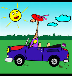 Giraffe girl in a red hat rides in a blue car vector