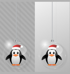 glass christmas ball with penguin design template vector image