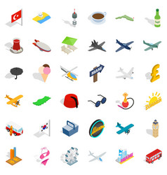 Globe travel icons set isometric style vector