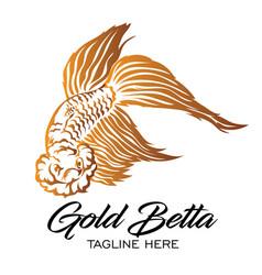 Gold betta fish logo vector