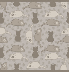 Grey and brown cat stitched mouse pattern vector