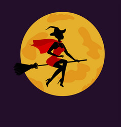 Halloween witch flying on broom in background of vector