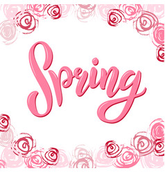 hand sketched pink spring text vector image