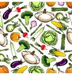 Healthy organic vegetables seamless pattern vector image